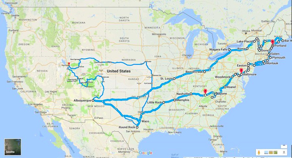 Julie Road Trip Map -SEPT AND OCT