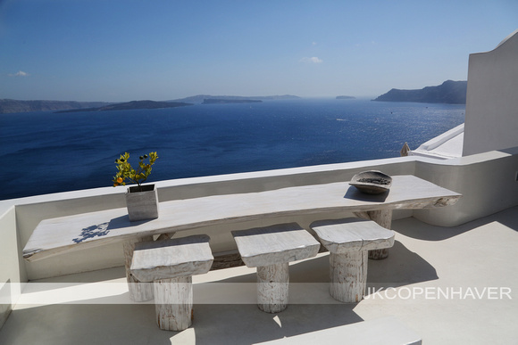 Santorini White Bench on Rooftop NICE